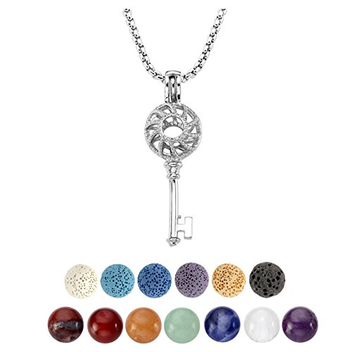 Top Plaza Mini Aromatherapy Lava Rock Stone Essential Oil Diffuser Locket Pendant Necklace/W 7 Chakra Reiki Healing Natural Crystal Balls,6 Dyed Lava Stone Ball Mini Pendant