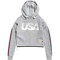 Superdry Women's Gym TECH USA Crop Hooded Pullover Sweatshirt