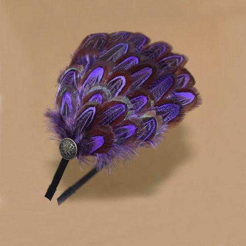 Aukmla Feather Headband for Women and Girls (Purple)