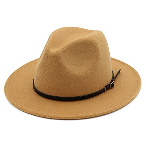 (Lisianthus Women Belt Buckle Fedora Hat Camel)