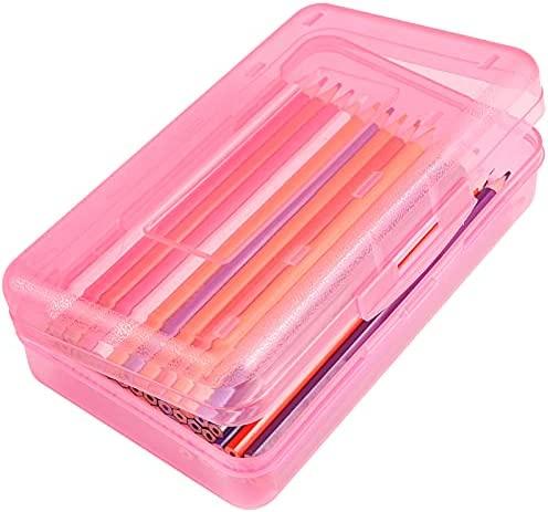 DANRONG Colored Plastic Pencil Box, Large Capacity...