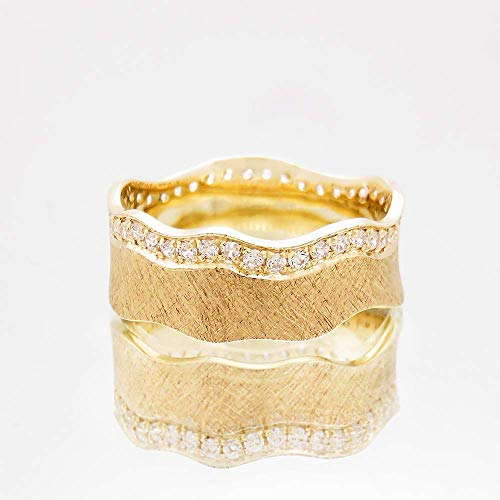 Solid Yellow Gold Wide Concave Diamond Wedding Band for Women in a Florentine Scratched Texture, Boho Artisan 14k and 18k Solid Yellow Gold Modern Jewelry in Sizes US 4-8.75, Diamonds 0.35-0.43 ct.