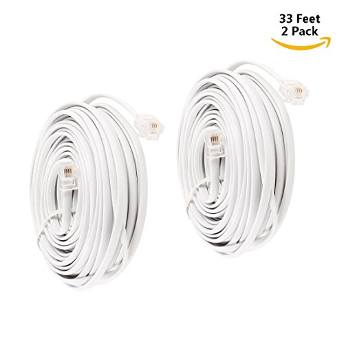 Uvital 33 FEET TELEPHONE LANDLINE EXTENSION CORD CABLE LINE WIRE WITH STANDARD RJ-11 6P4C PLUGS(WHITE 10M,2PCS)