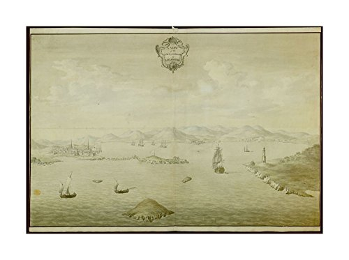 1757 Map Louisbourg A VIEW of TOWN & HARBOUR of LOUISBOURG View of harbour at Louisbourg; ships on water; town of Louisbourg on left-hand side; an island with a white - Harbour Town Centre