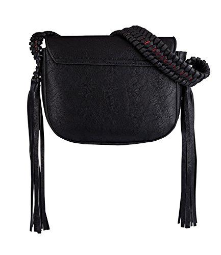 SIX Damen Fransen Tasche, Umhänge Sattel Tasche, mit Fransen, Lederoptik, schwarz (726-399)