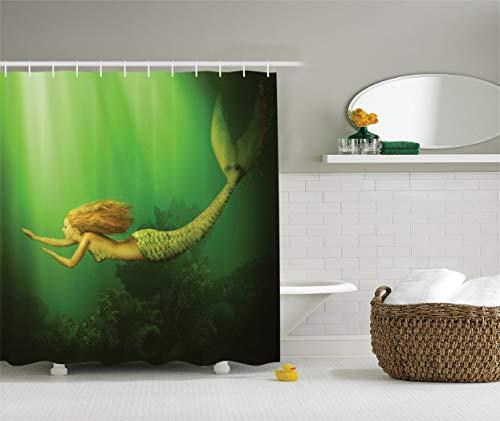 (Mermaid Decor Shower Curtain Set,Mermaid Fish Tail Swimming in The Sea Fantasy Artwork,Bathroom Accessories 6072 inches)