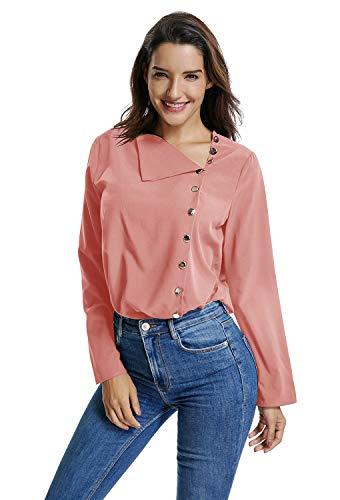 UAress Women's Irregular V Neck 3/4 Sleeves Side Tilt Button Down Blouse Shirt, Pink, S - Tilt Womens Jeans Pants