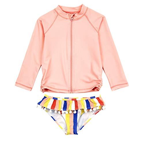 SwimZip Girls 2 Piece Long Sleeve Rash Guard Set | Multi Stripe Pink 12-18 Month
