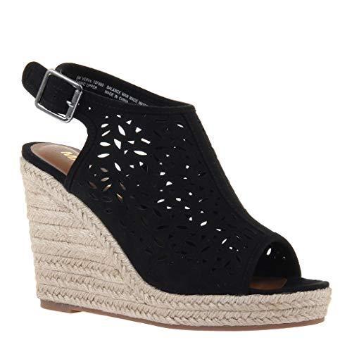 MADELINE girl Women's Verve Wedge Sandals - Black - 8 - Madeline Girl