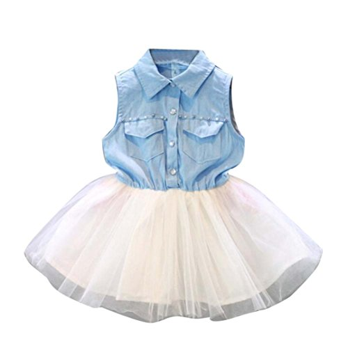 Fabal Fashion Girls Kids Princess Flower Denim Tulle dress Sleeve Summer Dress (6/7T, Light Blue)