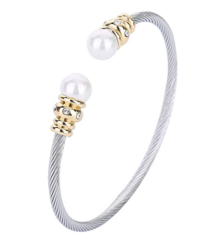 Monily 3MM Cable Wire Bracelet Stainless Steel Created-Pearl CZ Twisted Cuff Bangle for Women David Yurman White Bracelet