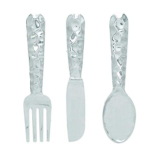 Benzara Artistic Cutlery Wall Décor In Metal, Set of 3, Silver ()