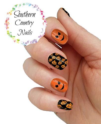 Halloween Pumpkin Orange and Black Full Nail Wrap Nail Art Decals -