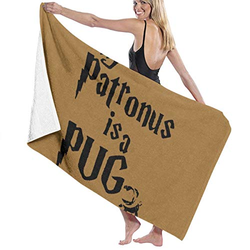- NiYoung Premium Bath Towels Hand Towels for Home, Hotel, Spa, Beach Gym - My Patronus is A Pug Towels, Soft Absorbent Shower & Bath Towel Extra Large Bathroom Towel - 32x51 inch