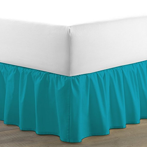 Namira Bedding Egyptian Cotton 300 Thread Count 1 PC Tailored Single Ruffled/Dust Ruffle Bed Skirt (Turquoise Blue, Twin, Drop Length 11 Inches)