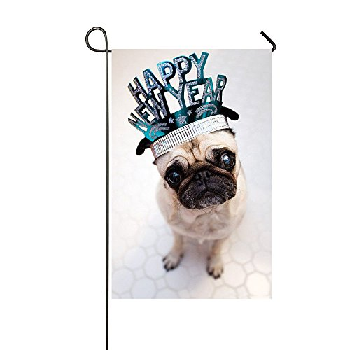 Rossne G sun Happy New Year Pug Garden Flag House Flag Decoration Double Sided Flag 12.5