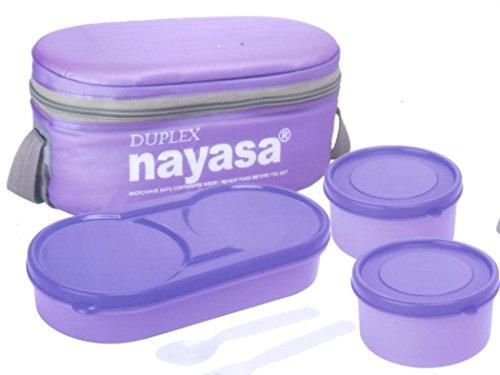 Nayasa Plastic  Thermoware Duplex Lunch Box Soft Tiffins, Standard, Blue