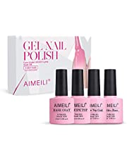 AIMEILI Soak Off UV Led Gel Nail Polish Set - No Wipe Top Coat, Base Coat, No Wipe Matte Top Coat, and Builder Base Gel Varnish Set Of 4pcs X 10ml