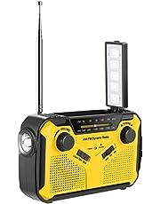 Noodradio, AM/FM/Wide FM Compatible, Zaklamp, (zonne-/handslinger opladen/USB opladen/batterij), 2.500 mAh hoge geluidskwaliteit, voor aardbevingen, tyfoons, tsunami, stroomuitval