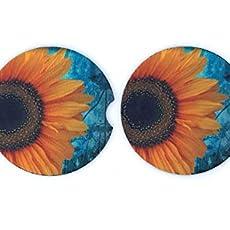 Set of 2 Sunflower Car Coasters Neoprene