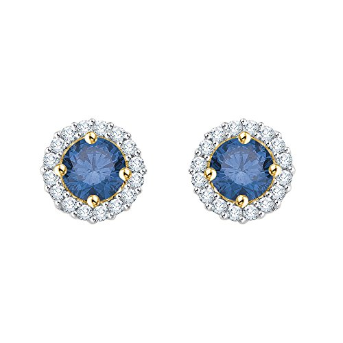14K Yellow Gold 1/2 ct. Diamond Fashion Earrings with Blue Center Diamond