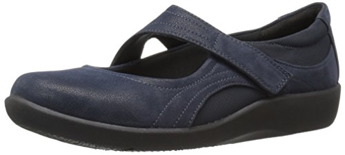 CLARKS Women's Sillian Bella Mary Jane Flat, Navy Synthetic, 9.5 M US (Clark Kids Shoes)