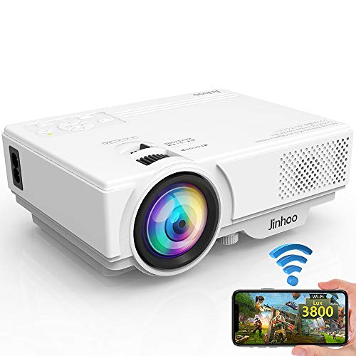 WiFi Projector, 3800 Lux 1080P Supported HD Mini Projector with 176'' Projector Size, 50000 Hours Lamp Lifetime, Compatible with HDMI, VGA, AV, USB for Home Theater, Movie and More