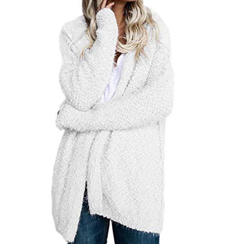 Giaccone Bianca Comodo Con Cardigan Grazioso Moda Giacca Lunga Casual Baggy Donna Coat Di Outwear Cappuccio Manica Autunno Monocromo Elegante 46qUan