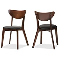 Baxton Studio Desta Mid-Century Walnut Brown Dining Chair (Set of 2), Black/Walnut Brown
