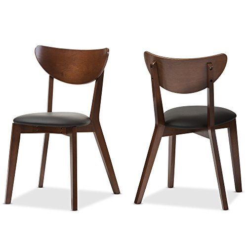 Baxton Studio Desta Mid-Century Walnut Brown Dining Chair (Set of 2), Black/Walnut Brown by Baxton Studio
