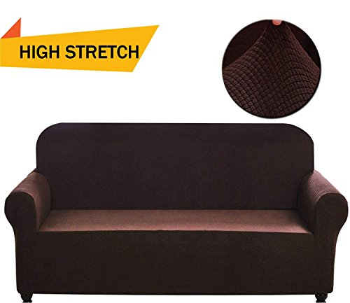 Chelzen Stretch Sofa Covers 1-Piece Polyester Spandex Fabric Living Room Couch Slipcovers (Sofa, Dark (Dark Brown Leather 3 Piece)