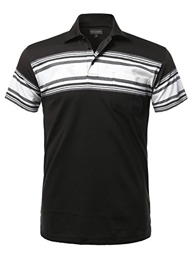 Style by William Casual Basic Striped Single Chest Pocket Short Sleeves Polo T-Shirt Black L ()