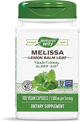 Nature's Way Premium Herbal Melissa Lemon Balm Leaf, 1500 mg per Serving, 100 Vegetarian Capsules, Pack of 2