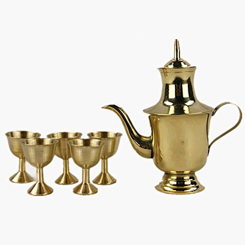 Dollbling Buddhist Copper Teapot Wine Set Copper Cup Bronze Furnishing Articles Bless Prayer Worship Buddha Cup