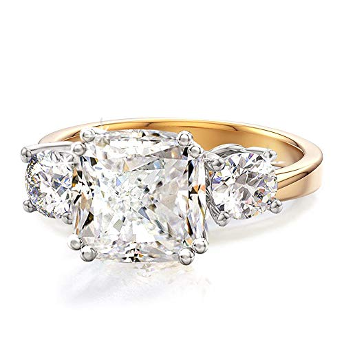 han Markle Engagement Ring Inspired by Royal Wedding in 18K Yellow Gold, 18K Rose Gold & Rhodium Plating with 3.67ctw CZ ()