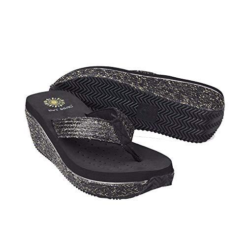 Playa Señoras Flops Con Wedge Antideslizante Zapatos Zapatillas Negro Vistiendo Flip De Black 7n0xn1