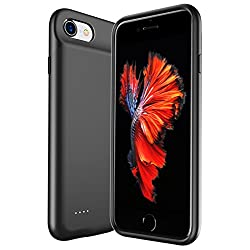 Iphone 6s 6 7 8 Battery Phone Case Slim Rechargeable Extended Protective Battery Charging Case for iPhone 6 7 8 [Lightning Charging Port] And [Jack 3.5mm Port] (4.7 inch)-3000 mah (Black)