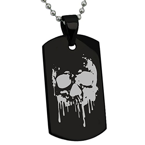 Black Stainless Steel Hades Greek God of Underworld Symbol Engraved Dog Tag Pendant Necklace