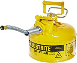 Justrite 7210220 AccuFlow 1 Gallon, Galvanized Steel Type II Yellow Safety Can With 5/8\