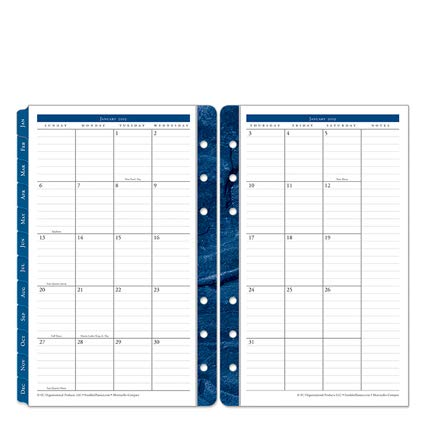 Compact Monticello Two Page Monthly Ring-Bound Tabs - Jan 2019 - Dec 2019