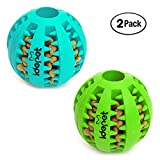 Idepet Dog Toy Ball, Nontoxic Bite Resistant Toy Ball for Pet Dogs Puppy Cat, Dog Pet Food Treat, 2 Pack- Blue & Green