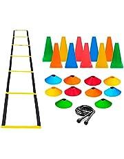 Escada + Corda +10 Pratos +10 Cones P/Treinamento Funcional