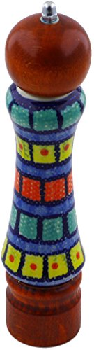 Polish Pottery 8¼-inch Pepper Grinder (Stained Glass Theme) + Certificate of Authenticity from Polmedia Polish Pottery