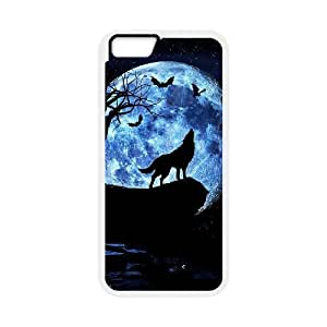 """Custom Colorful Case for Iphone6 Plus 5.5"""", Wolf and Moon Cover Case - HL-R664299"""