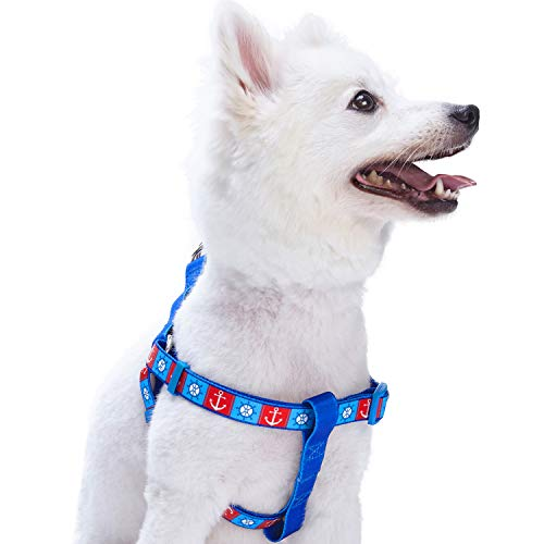 Blueberry Pet 2 Patterns Step-in Classy Bon Voyage Nautical Ocean Harbor Designer Dog Harness, Chest Girth 26 - 39, Large, Adjustable Harnesses for Dogs