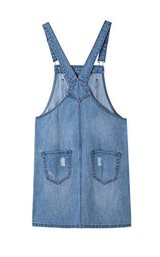Pocket Straps Casual Women's line Bib Denim Adjustable Dress Pinafore Overall A Blue Denim xxRwO