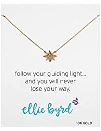 """ellie byrd 10k Yellow Gold North Star Necklace Made with Swarovski Crystal (17"""")"""