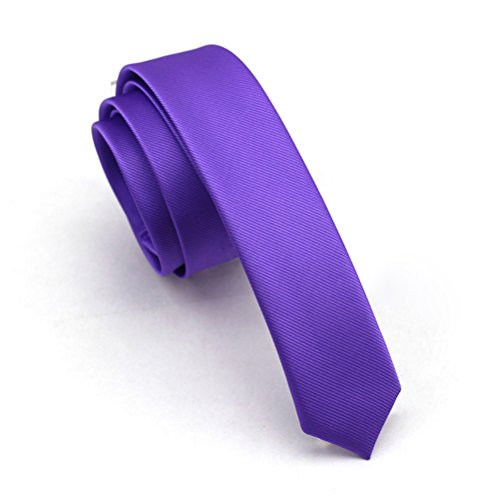 Elviros Mens Solid Color Eco-friendly Fashion Skinny Tie 1.6'' (4cm) (Purple Skinny Tie)