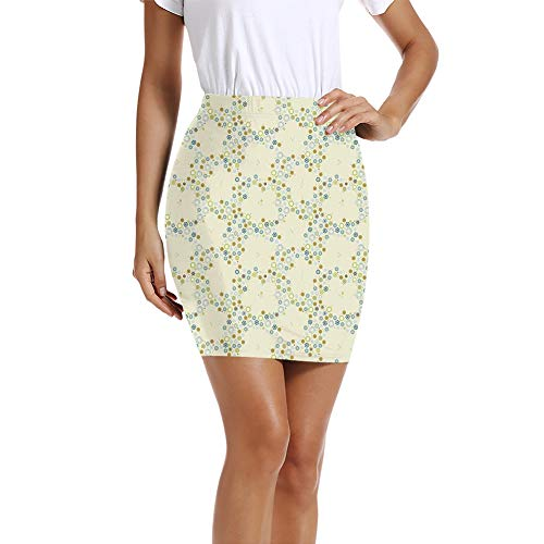 Women's Pencil Skirt,Ornament of Medallion Shapes Bordered with Small Wildflowers Pattern Print XL