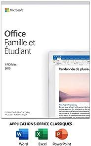 Microsoft Office Famille et Étudiant 2019 | Achat unique, 1 utilisateur | Carte PC/Mac